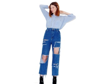 vintage RIPPED JEANS / womens extra large XL 32 waist / high waisted jeans mom jeans distressed ripped jeans cropped jeans boyfriend jeans