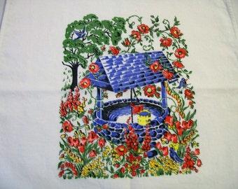 Vintage Tea Towels, Vintage Tea Towel, Wishing Well, Wishing Well with Red Flowers, 1950s, Vintage Kitchen