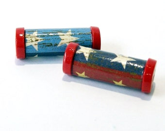 Patriotic Tube Beads Antiqued Paper and Polymer Clay - Sold in Pairs
