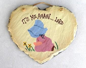 1992 PLAIN JANE Slate Decorative Wall Plaque, Garden Wall Plaque, Vintage Heart Slate Folk Art,