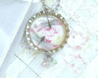 Dragonfly Pendant Necklace Insect Necklace Shabby Chic Necklace Nature Necklace Dragonfly Jewelry