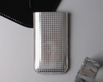Iphone 7 or iPhone 6 leather case in silver colour - disco ball pattern, iPhone 7 sleeve, minimalist phone case, gift under 30