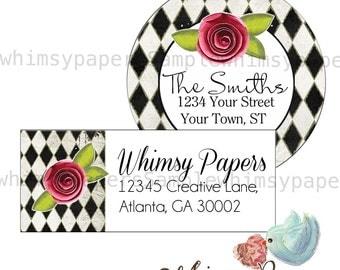 Flower Rose Stickers Return Address Labels