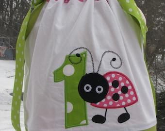Sample Sale Half OFF Ladybug Birthday Pillowcase Dress, 1st birthday party dress, pink ladybug party dress