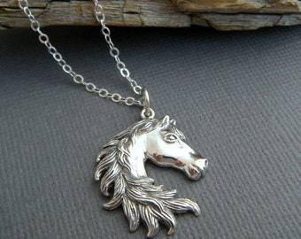 sterling silver horse necklace small head mane pride equestrian love realistic charm gift animal lover simple equine jewelry 1""