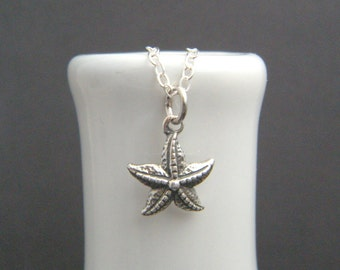 small starfish necklace. tiny sterling silver star fish ocean pendant. seastar. sea star. beach jewelry. realistic marine nature charm. 1/2""