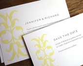 Printable Wedding Invitation & Save the Date Template - Ornament - Instant Download - Yellow and Gray Wedding Invite and Save the Date PDF