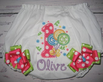 Baby girls Lollipop bloomers, candyland bloomers, circus bloomers