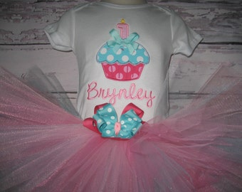 Boutique Monogrammed First Birthday Cupcake tutu set