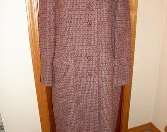 Vintage Harris Tweed coat red orange grey size M or L