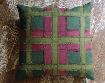 Scottish Thistle Tartan Plaid hand fringed decorative traditional colorful home decor linen pillow cover dark green, olive, wild berry