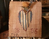 PriMitive  EarLy TicKing StriPe HeaRt FLoweR HoLdeR  CaBinet BoaRd With anTiqUe MothEr oF PearL BuTToNs