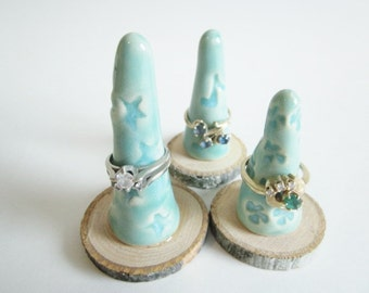3 Ceramic Ring cones, Musical note, star, ring cone, mint green ring cone holder