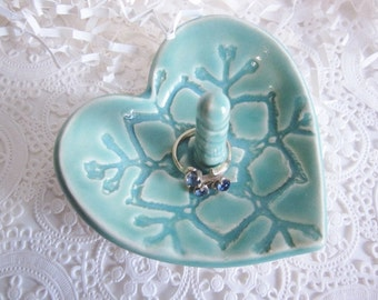 50% off Sale!!.  Ceramic Heart jewelry bowl in mint green,  gift for sister