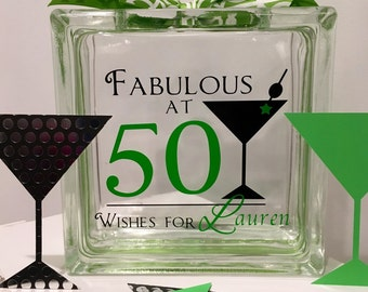 50th Birthday Wish Block - Wish Jar - Martini Themed - Fabulous at 50  - Guest Book Alternative