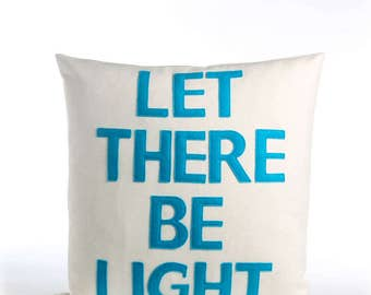 "NEW! throw pillow, decorative pillow, ""Let there be light"" 16X16 inch throw pillow, NEW!"