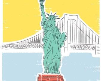 Travel poster, Statue of Liberty print - New York art print - NYC poster, New York Print, America poster, Architecture Print, USA Print