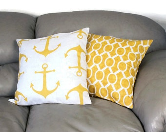 Set of TWO Gold Nautical Decorative Throw Pillows, Your Choice of fabrics Gold and White - B1-2, Summer Pillows, Beach House Anchors Decor,