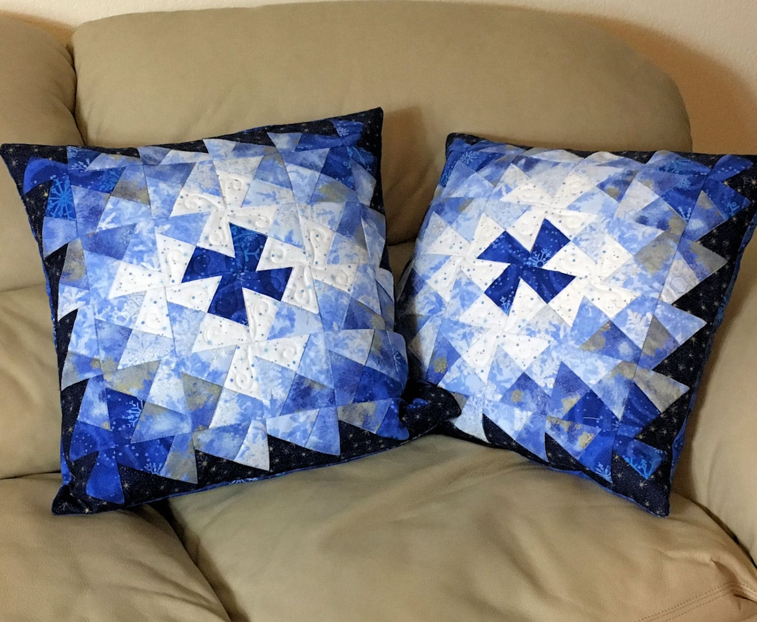 White Quilted Decorative Pillows : Set of Two Quilted Throw Pillows 18 inch Blue Silver White