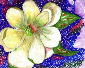 Magnolia Flower Mixed-Media Art Print