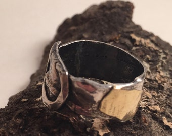 Sterling Silver Band Ring with 14K Gold -  Fused, Fold Formed and Forged by My Hands