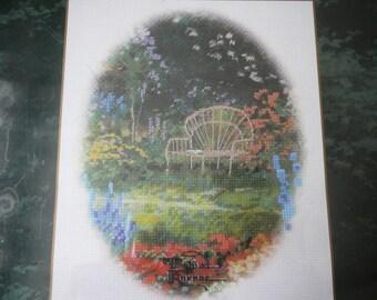 "Thomas Kinkade Cross Stitch Kit - NIP - ""Lamplight Bridge- Bench Vignette""  No. 51192"