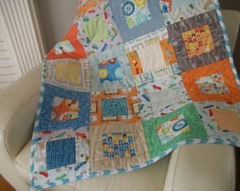 Modern Patchwork Baby Quilt Gender Neutral Baby Quilt Baby Blanket