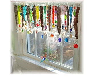 Original Beachy Keen Driftwood NUMBER ONE Stained Glass Window Treatment Kitchen Valance Curtain