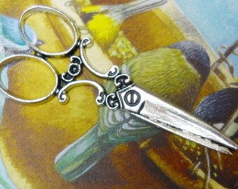 Victorian Scissors Pendant,Antique Silver large Scissor Pendant