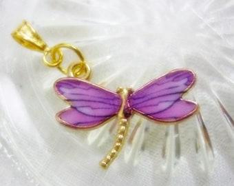 Dragonfly Delight Lavender Enamel and Gold Pendant