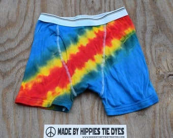 Blue Rainbow Bandolier Tie Dye Men's Underwear (Fruit of the Loom Boxer Briefs Size S) (One of a Kind)