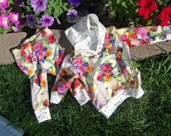 Baby Girl Sized 6-9 month Hoodie/Leggings Outfit in Floral and Woodland Design