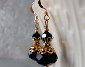 Black Dangle Earrings Crystal Earrings Black Bridesmaid Jewelry Black and Gold Wedding Jewelry Beaded Earrings Gift for Bridesmaid Handmade