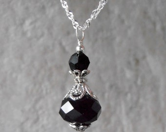 Black Crystal Pendant Necklace Black Bridesmaid Jewelry Gift Sterling Silver Chain Crystal Pendant Black and Silver 16 Inch 18 Inch 20 Inch