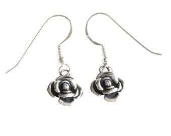 Handmade Flower Retro Earrings, Sterling Silver Earrings, Unique Designer Women Earrings, Israel Jewelry, Oxidized 925 Silver Rose Earrings
