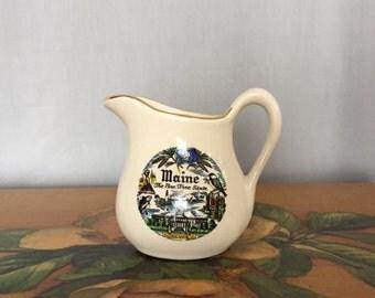Maine Vase Small Creamer Jug Vintage Distressed Ceramic Travel Souvenir