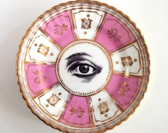 Vintage Victorian Eye Plate Altered Art gothic steampunk