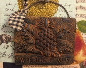 WELCOME Pineapple Blackened Beeswax Cinnamon Scented  Folk Art  Homespun Primitive - Free  SHIPPING in the USA