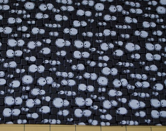 Fat Quarter Silly Whimsical Halloween Google Eyes on Black Background