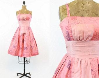 50s Greta Plattry Dress Small / 1950s Vintage Butterfly Print Party Dress / Pink Lemonade Dress