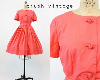 50s Dress Dynasty Large / 1950s Dress Shirtwaist Cotton Dress / Twisted Coral Dress