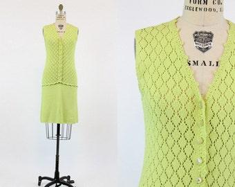 70s St John Knits Dress Small / 1970s Vintage Crochet Knit Dress / Citrus Heights Dress