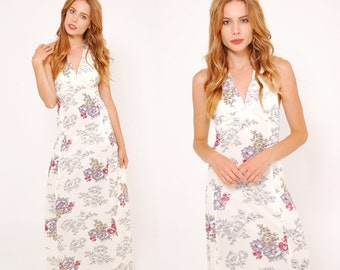 Vintage 70s FLORAL Maxi Dress Ivory ART NOUVEAU Floral Print Boho Dress  Halter Dress Sun Dress