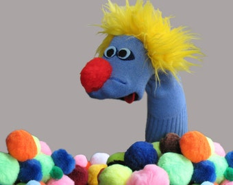 Couture Sock Puppet with Classical Notes. Blue Sammy with Yellow Hair.