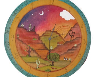 "DECORATIVE WALL CLOCK - wood clock -20"" Round  - Custom Made - personalized clock - heirloom clock - painted furniture - wall clock"