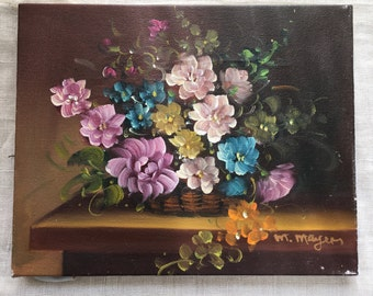 Vintage Flowers Signed Painting