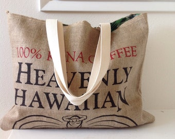 Burlap Coffee Sack Tote/ Market Bag/ Kona Coffee Sack Bag/ Beach Bag