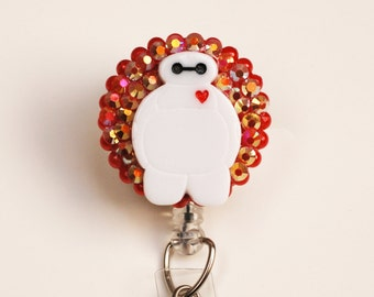 Disney Baymax On Iridescent Red ID Badge Reel - Retractable ID Badge Holder - Zipperedheart