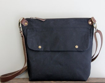 Waxed Canvas Purse Day Bag in Black with Exterior Pocket and Leather Strap