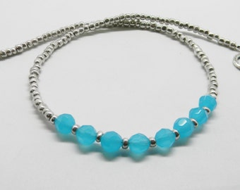 Aqua Crystal beaded necklace, Simple crystal necklace, Minimalist Necklace, Aqua Choker, Silver and Aqua Necklace, Gift for her
